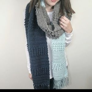 Oversized Chunky Color Block Fringed Scarf